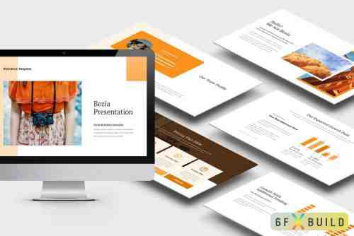 Bezia : Orange Color Tone Pitch Deck Keynote Template, Powerpoint Template