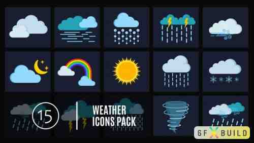 Videohive 15 Weather Icons Pack 4656832
