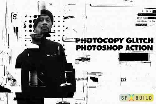 Graphicriver Photocopy Glitch Poster Photoshop Action 24748010