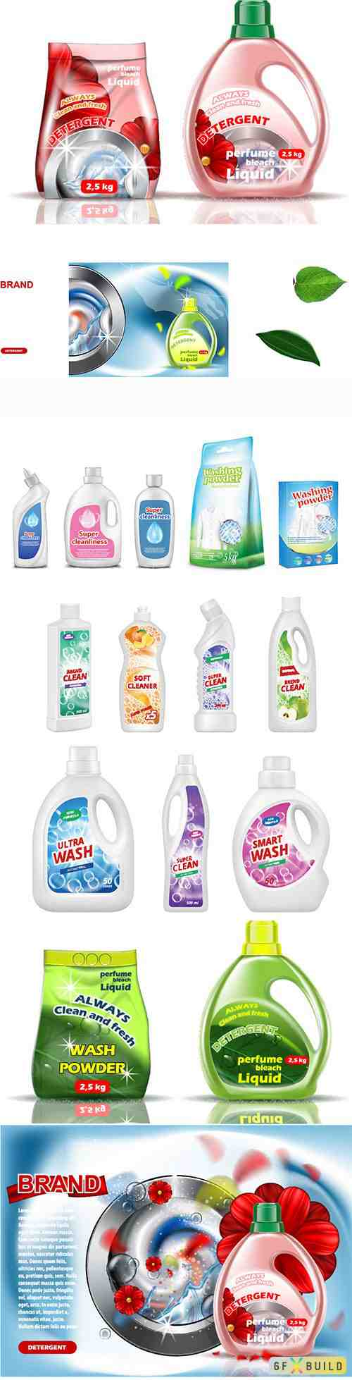 Washing powder liquid advert, on wash machine background