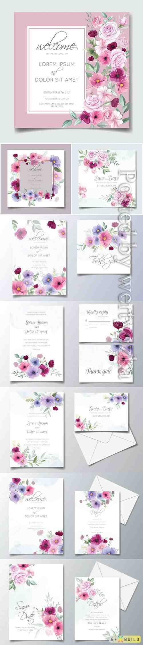 Colorful hand drawn floral wedding invitation card