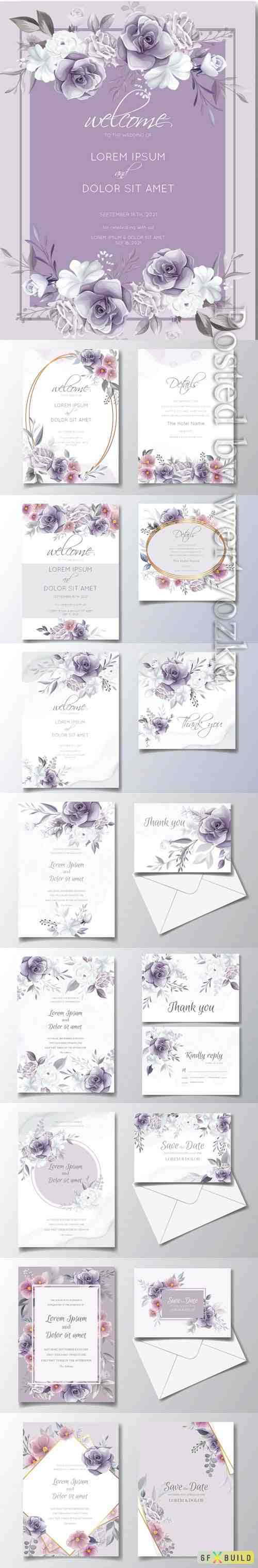 Romantic wedding invitation with beautiful rose and cosmos flower watercolor background