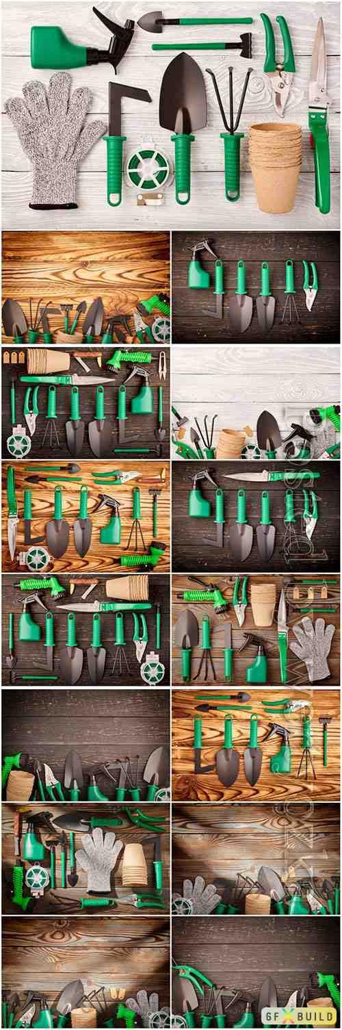 Gardening tools beautiful stock photo