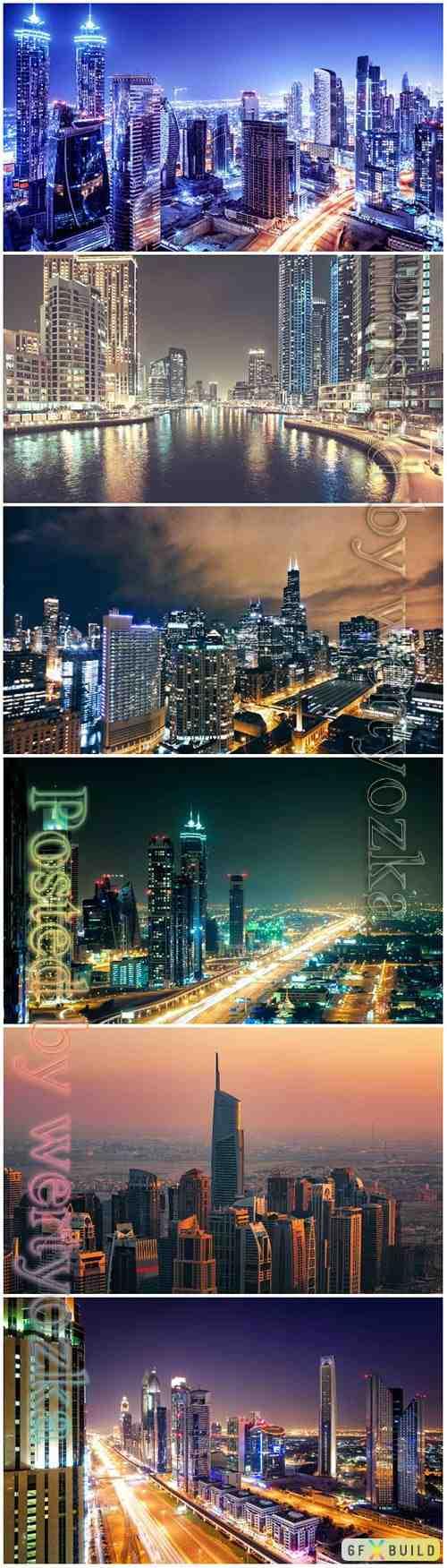 Night cities beautiful stock photo
