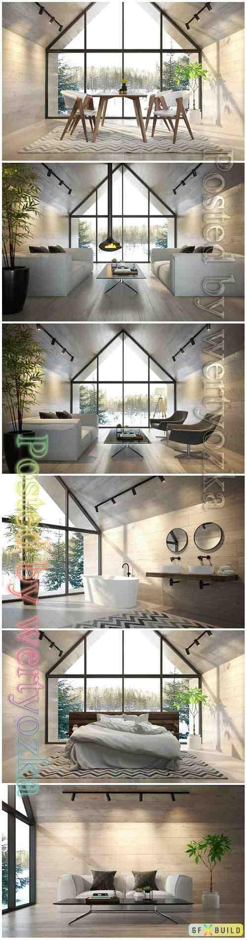 Interior living room beautiful stock photo