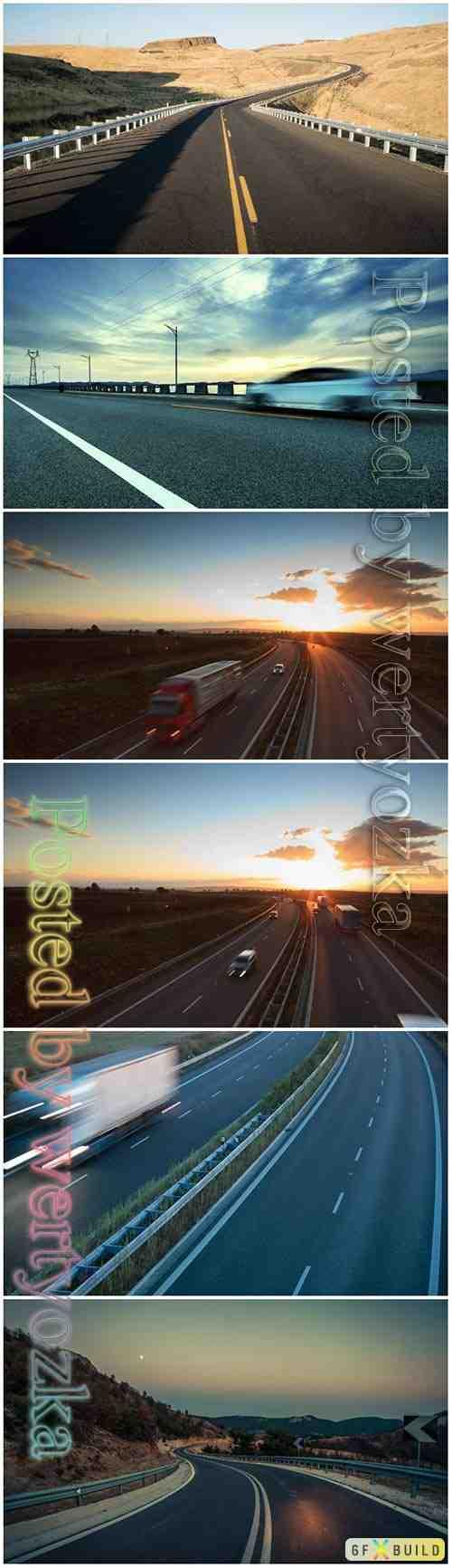 Highway traffic motion beautiful stock photo