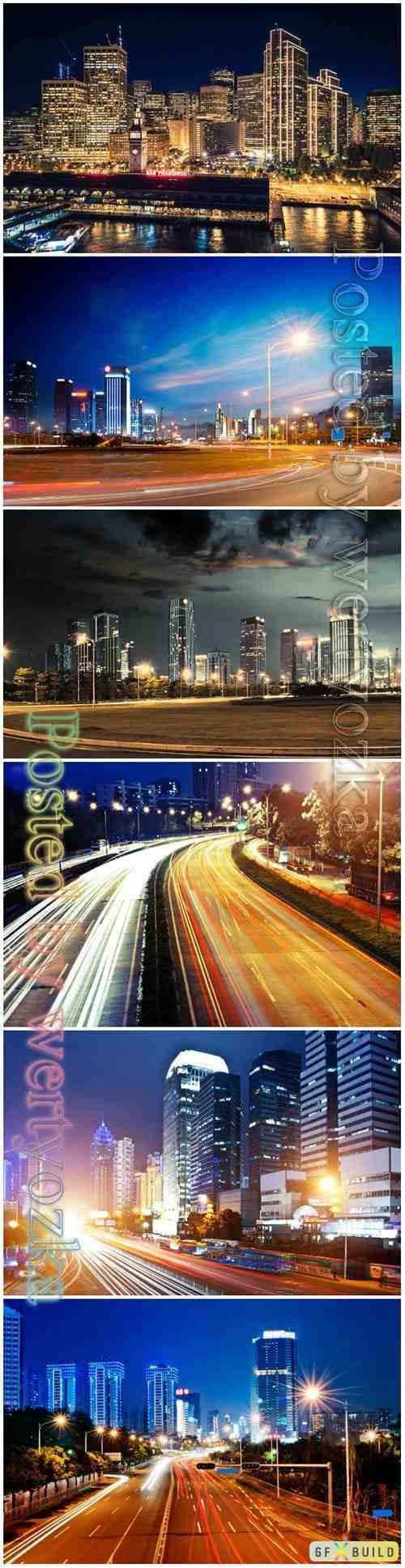 Night city beautiful stock photo