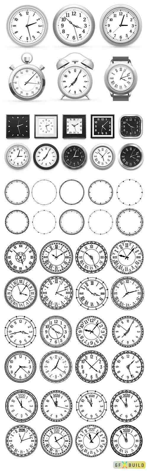 Realistic clock, modern white round wall clocks, black watch face and time watch