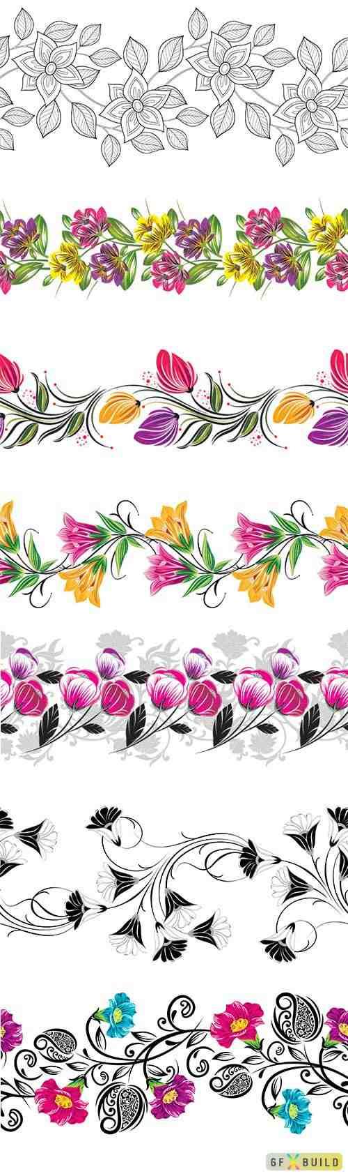 Seamless vintage floral border