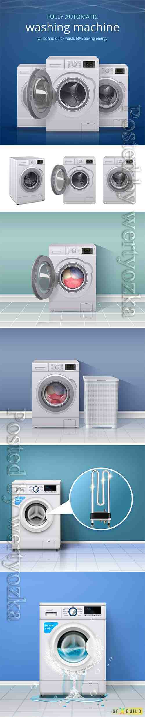 Washing machines in vector