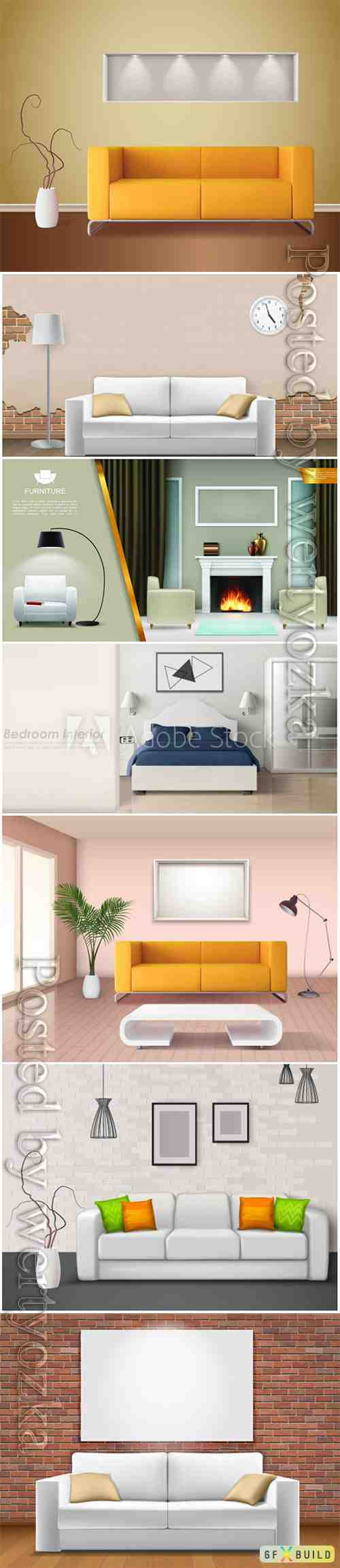 Modern interior in vector, sofas