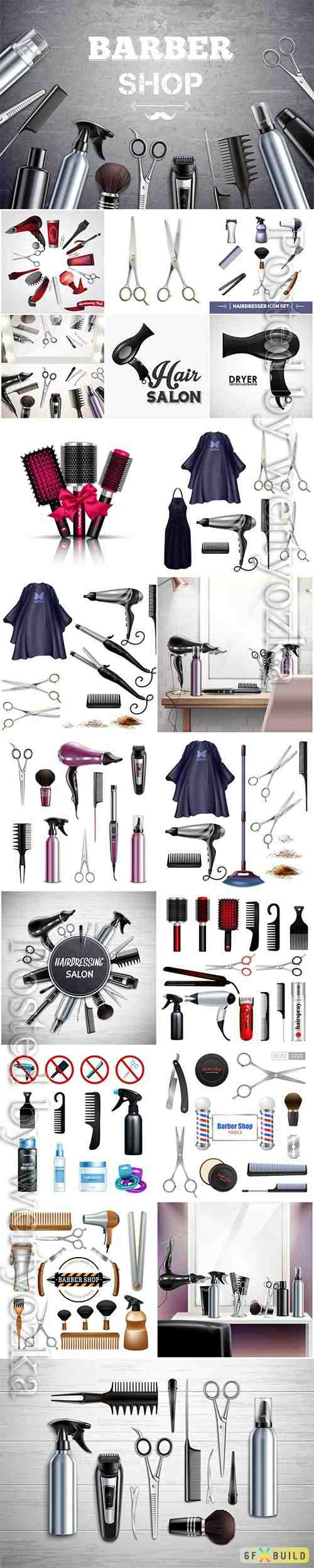 Barbershop hairdresser tools and accessories vector illustration