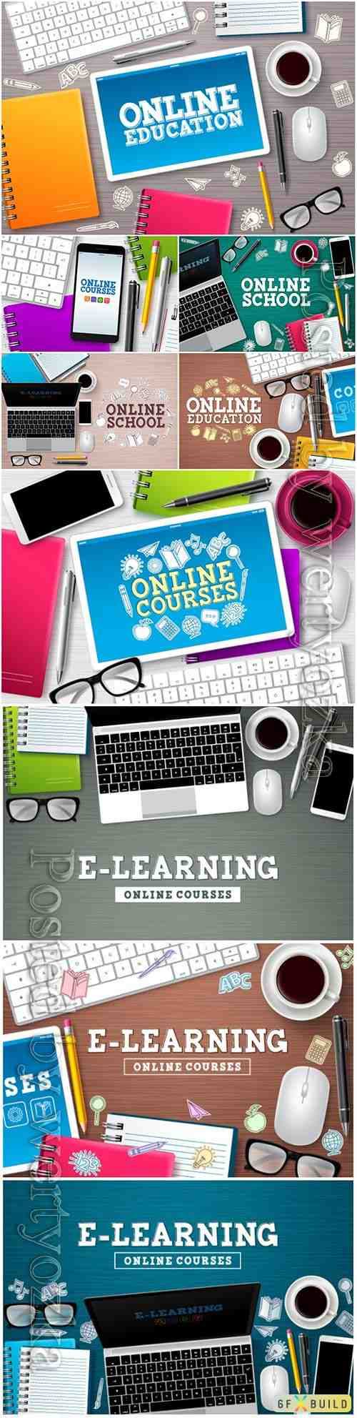 Online education elearning vector banner