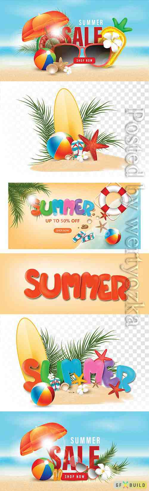 Summer holidays on the beach, vector 3D style