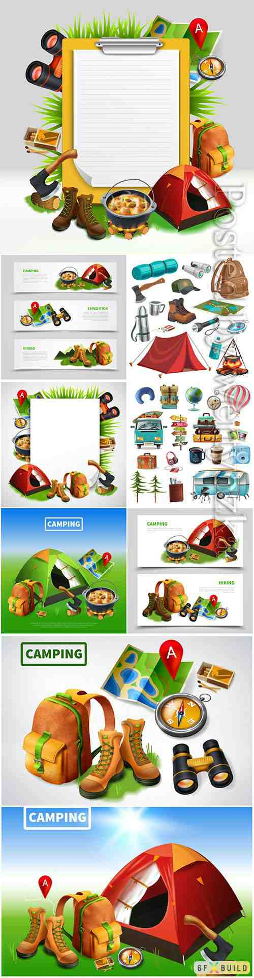 Camping, realistic, template, vector, illustrations