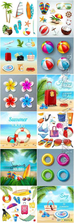 Hello summer holiday vector illustrations
