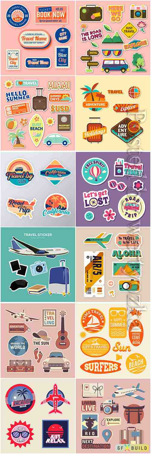 Travel sticker vector illustrations collection