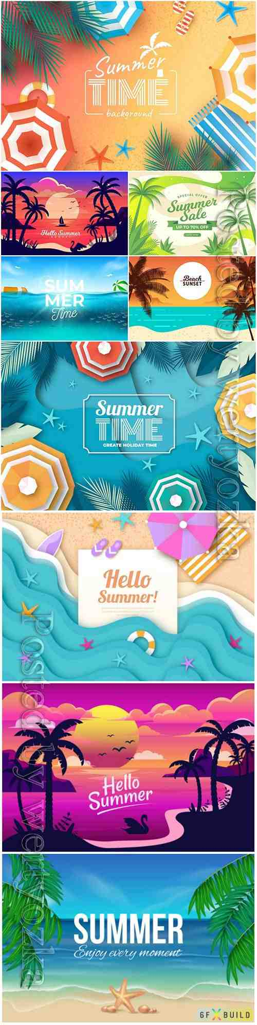 Summer realistic vector background with beach