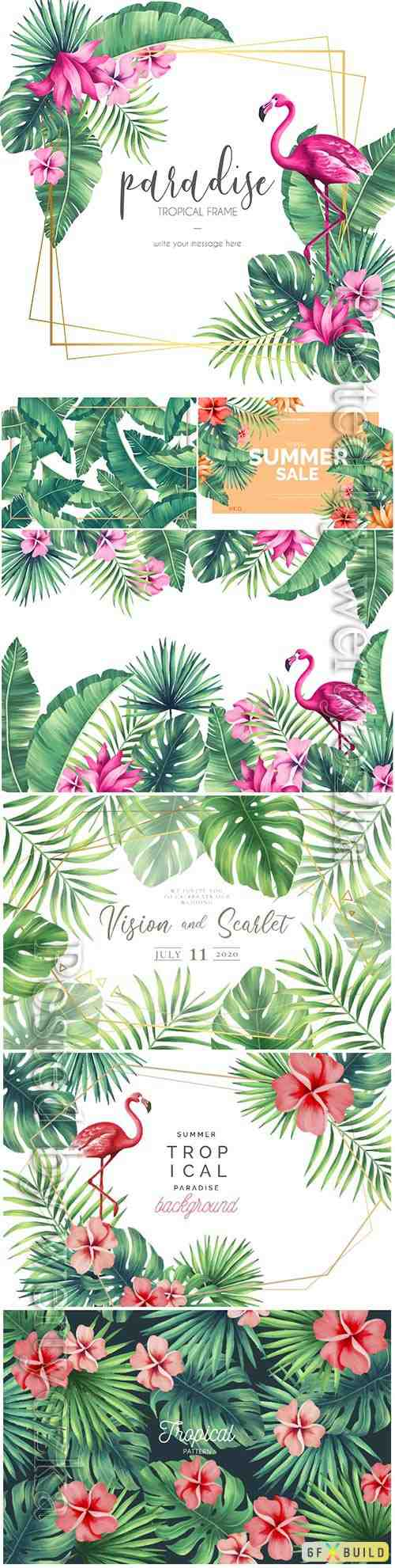 Tropical paradise summer vector background