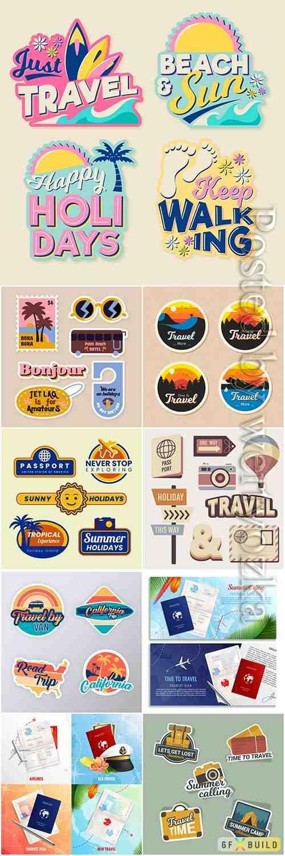Travel sticker vector collection illustration