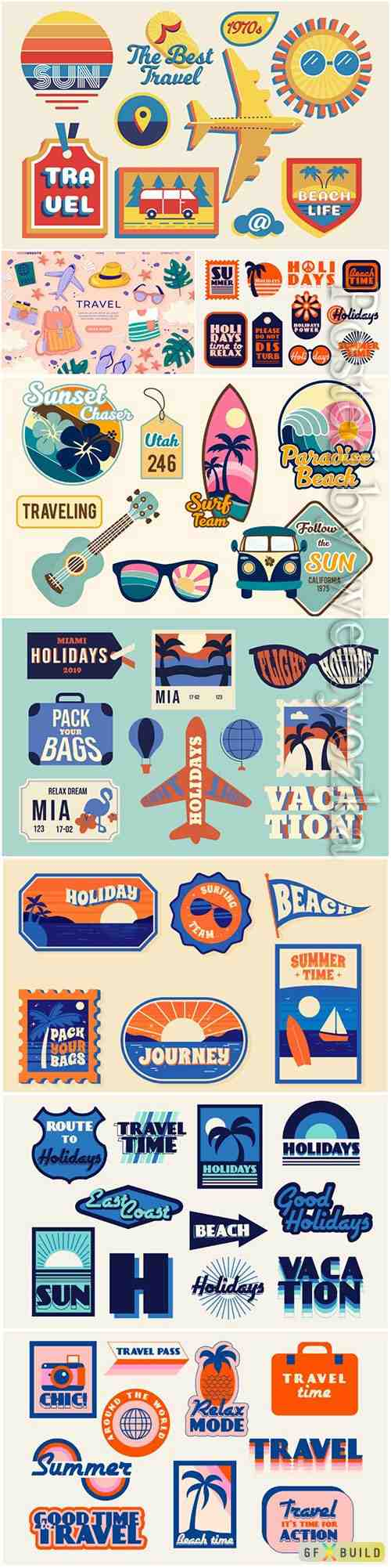 Travel sticker vector collection set