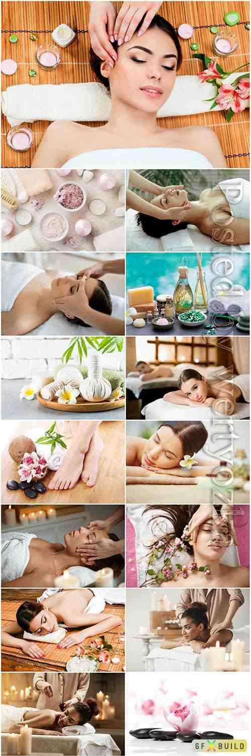 Spa salon, girls and beauty stock photo set