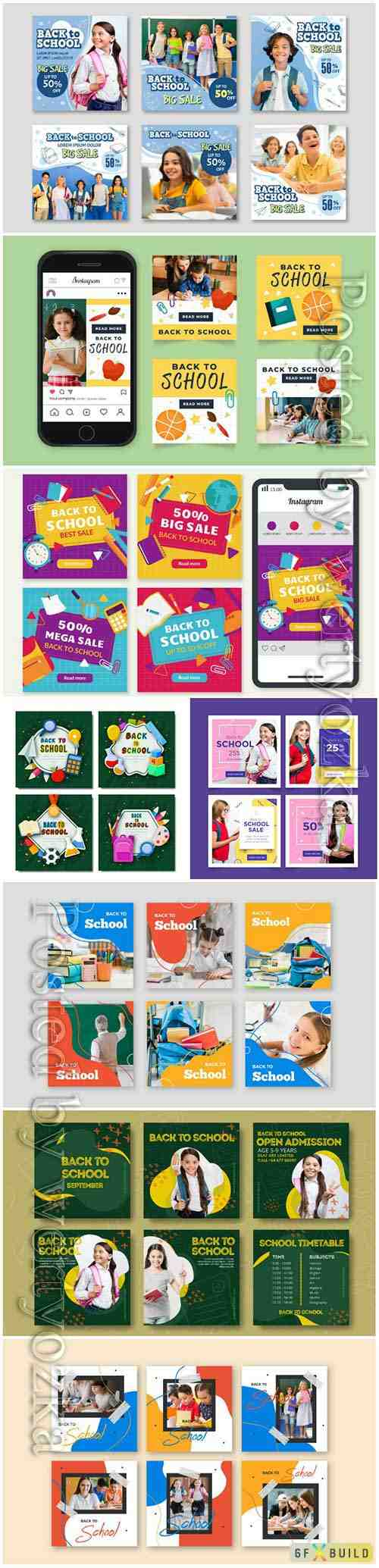 Hand drawn back to school instagram post collection vector illustration