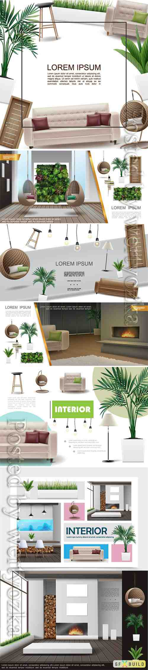 Realistic home interior vector template # 3
