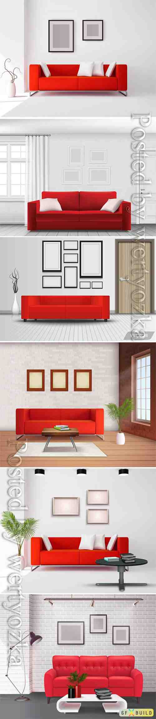 Realistic home interior vector template # 2