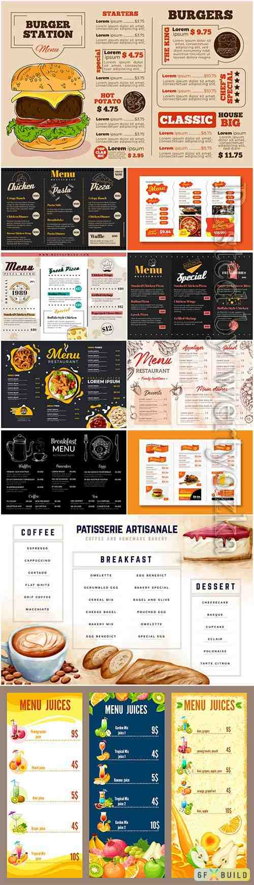Digital restaurant menu template