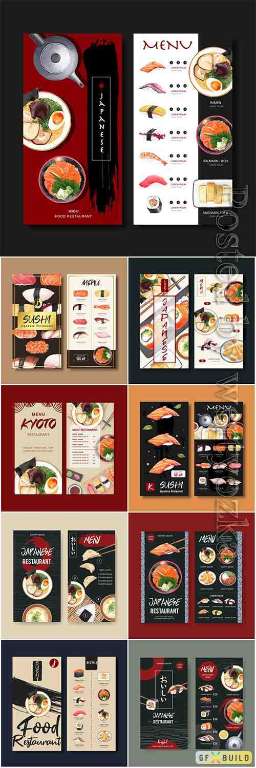 Sushi menu vector collection for restaurant