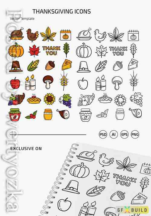 THANKSGIVING DAY ICONS TEMPLATES IN EPS + PSD