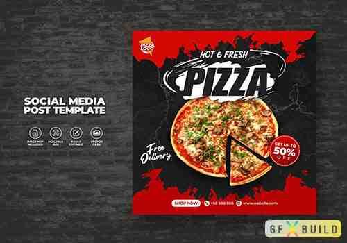 Food menu and delicious hot fresh pizza