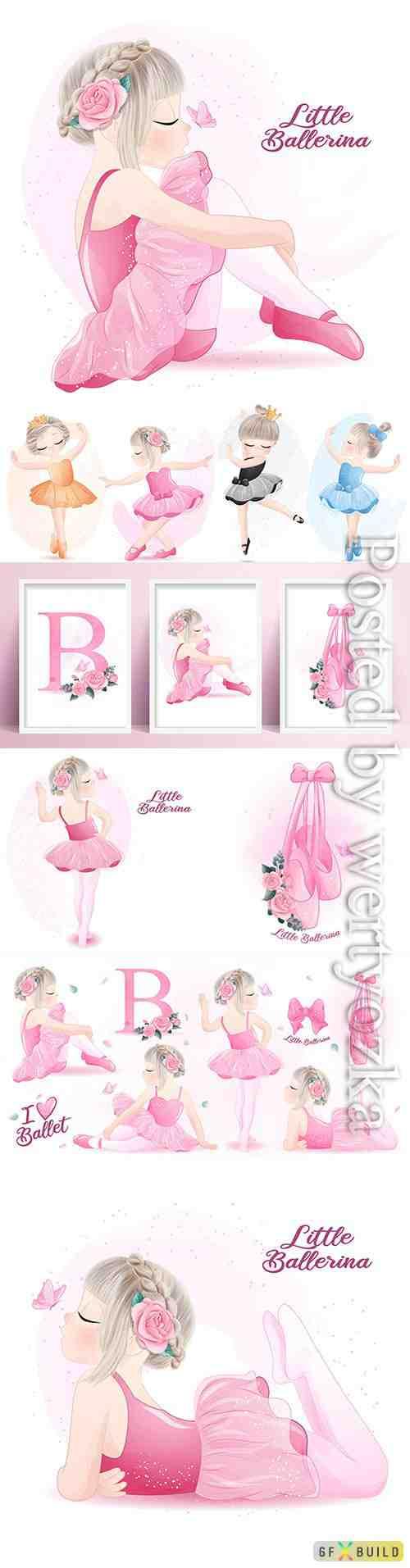 Cute girl ballerina watercolor illustration vector set