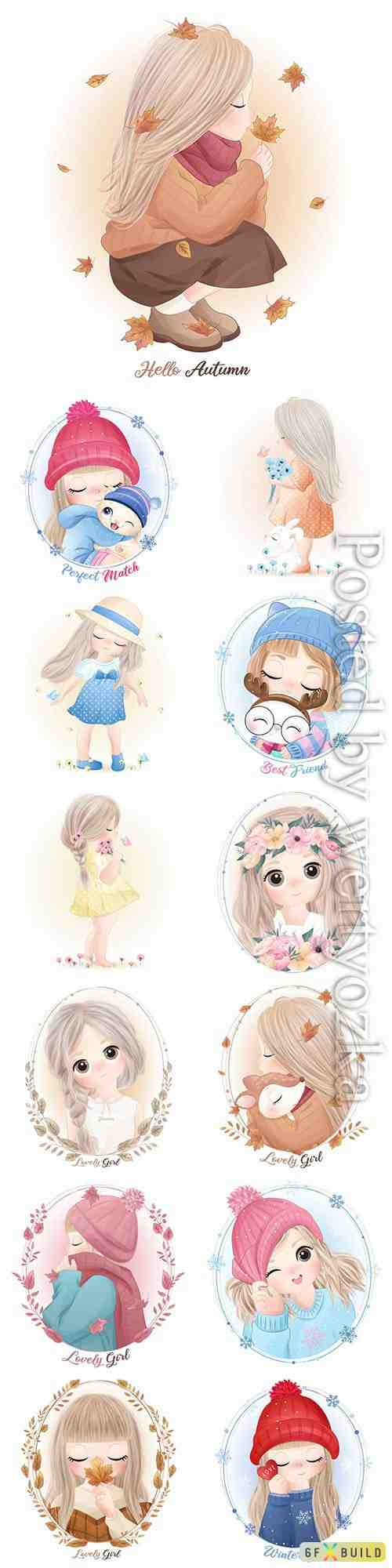 Hand drawn cute little girl with watercolor vector illustration