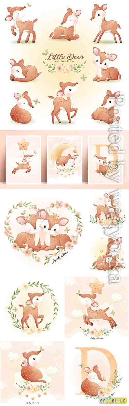 Cute doodle deer with floral set vector illustration