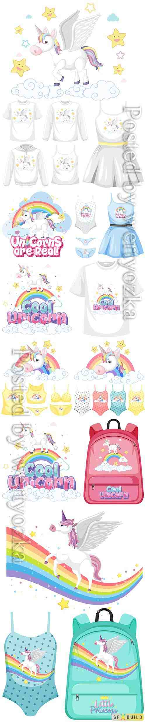 Set of girl outfits, cute unicorn premium vector