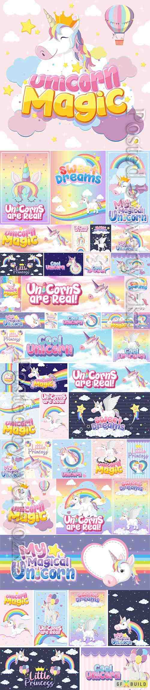 Cute unicorn set premium vector