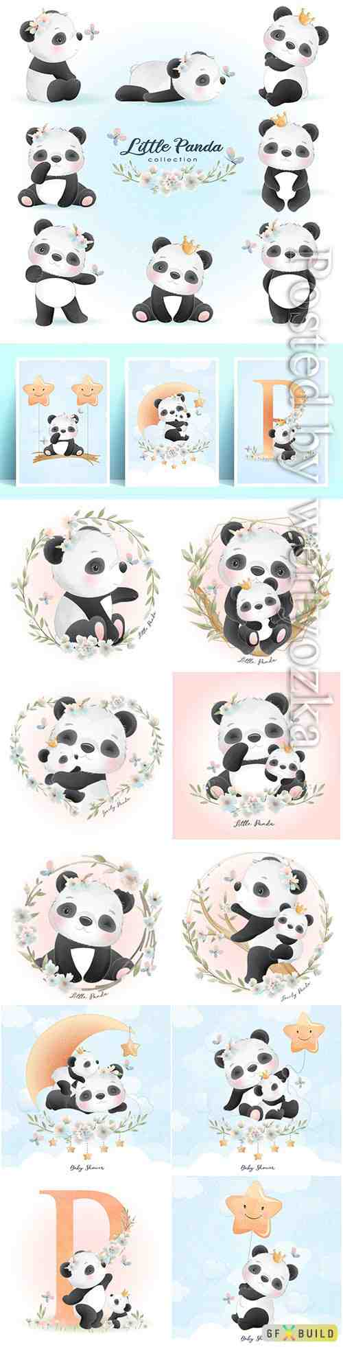 Cute panda with floral illustration premium vector