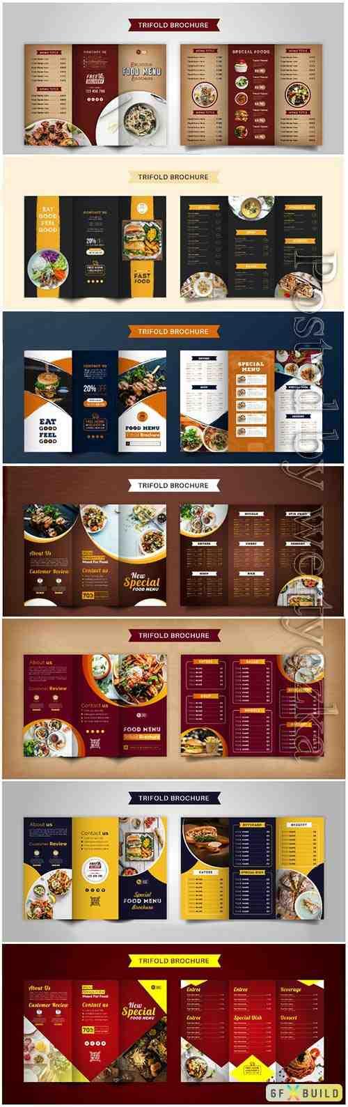 Food trifold brochure menu template, vintage fast food menu