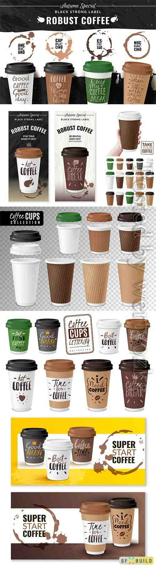 Realistic coffee cup poster vector