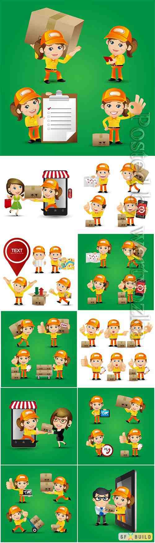People set profession delivery person vector set