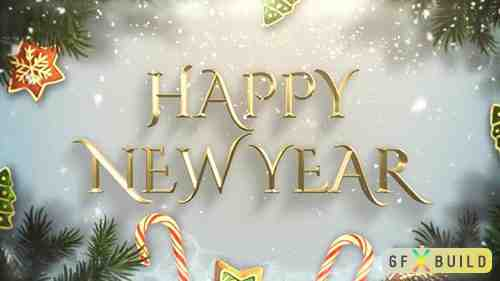 Animated closeup Happy New Year text, green tree branches and toys on snow background 29660986