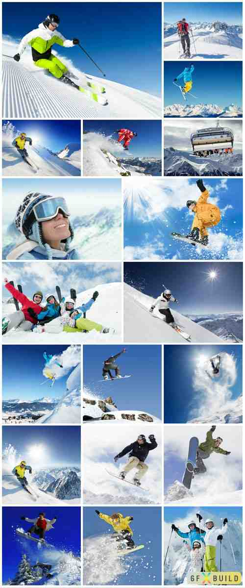 Winter holiday, people snowboarding stock photo