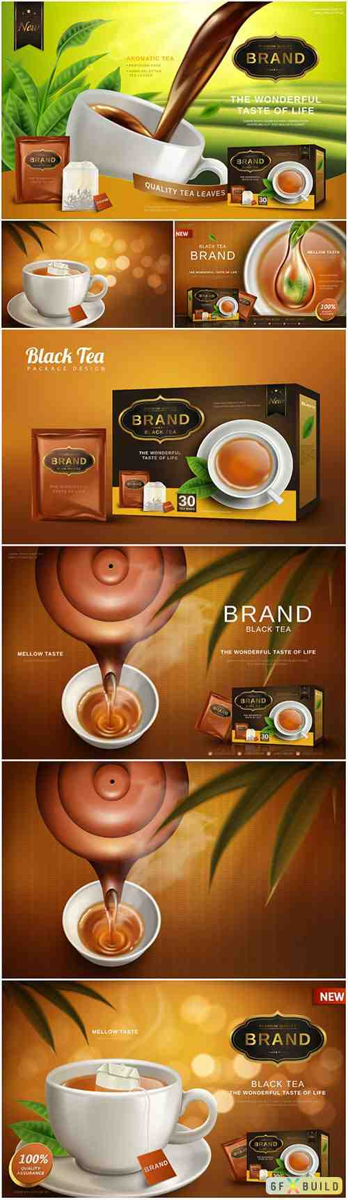 Black tea ad, with tea leaves and package box