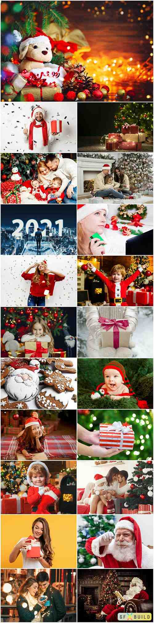Merry christmas and happy new holidays concept set stock photo