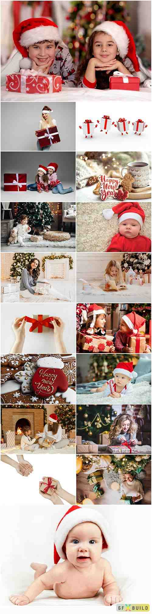 Merry christmas and happy new holidays stock photo