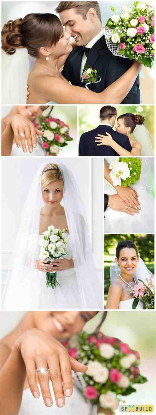 Wedding, bride and groom stock photos
