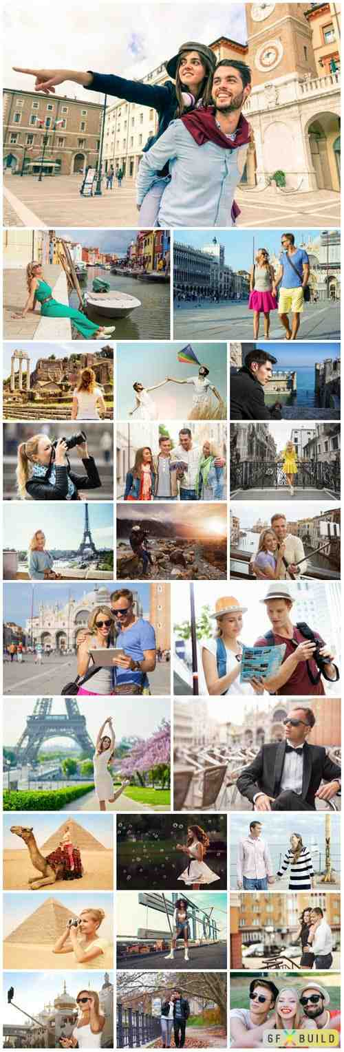 Travel, people on vacation stock photo