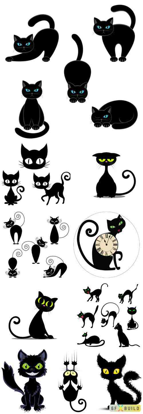 Black cats in vector
